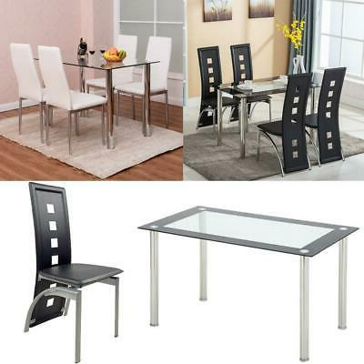 5 piece dining set glass table