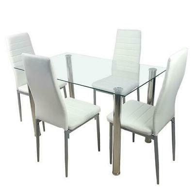 5 Glass Table Chairs Kitchen New