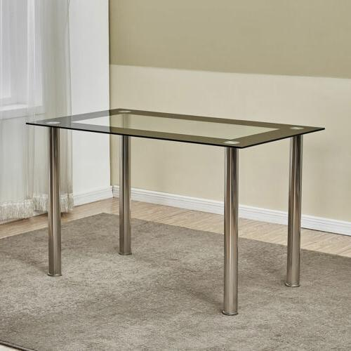 5 Piece Glass Top Table 4 for Kitchen