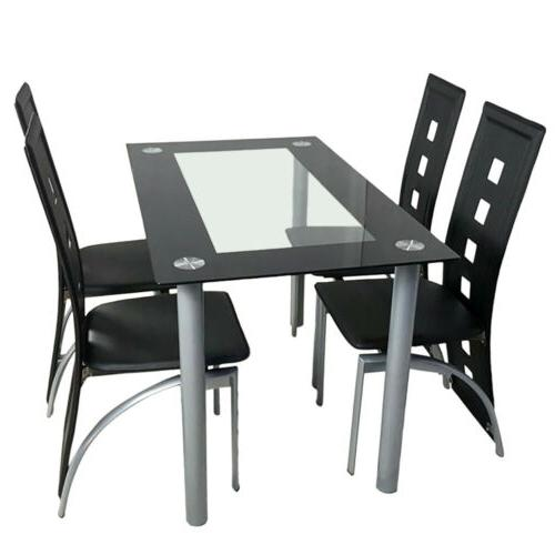 5 Tempered Dining and Chairs Set Furniture