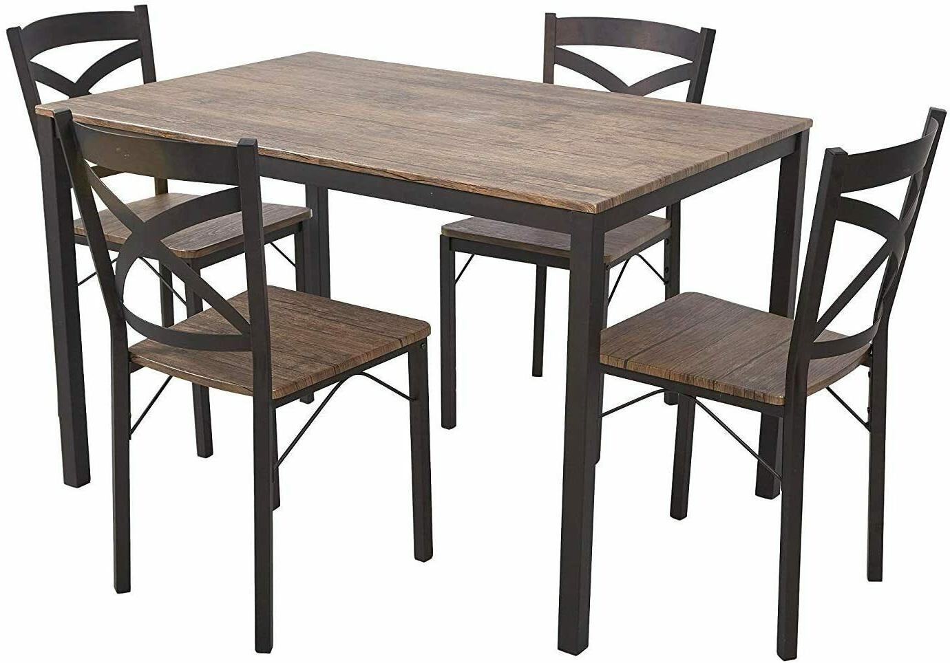 5-Piece Style Wooden and Chairs, Espresso