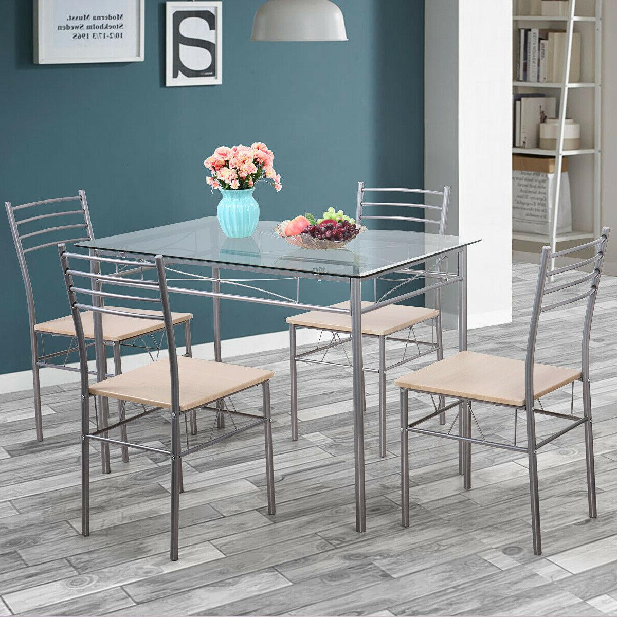 silver 5 piece dining set table glass