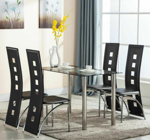 5 piece tempered glass dining table