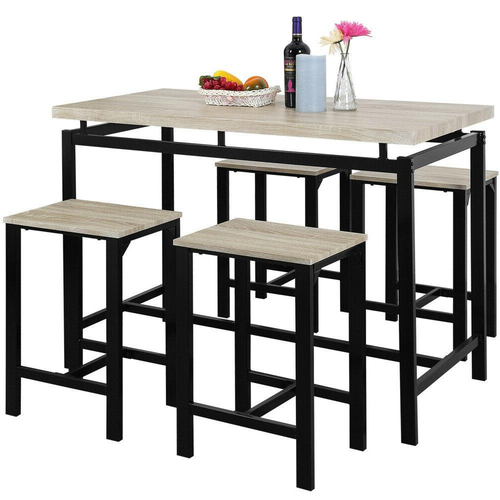 5 Piece Dining Set Wood Table and 4 Furniture