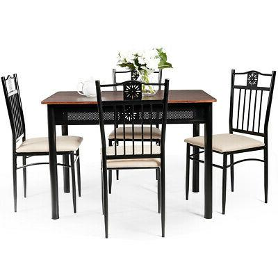 5 Piece Dining Set Wood Metal Table &4 Chairs Kitchen Furnit