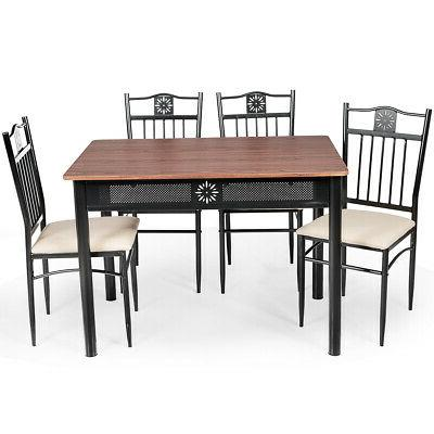 5 PCS Dining Set Wood Metal Table &4 Chairs House Room Kitch