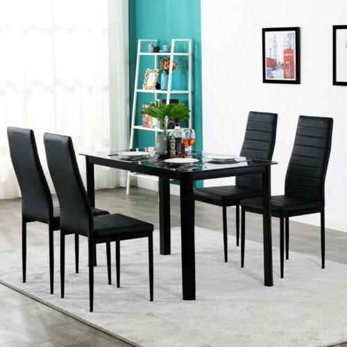 New Dining Table Set Jiugongge Table 4 Chairs Glass Metal Ki