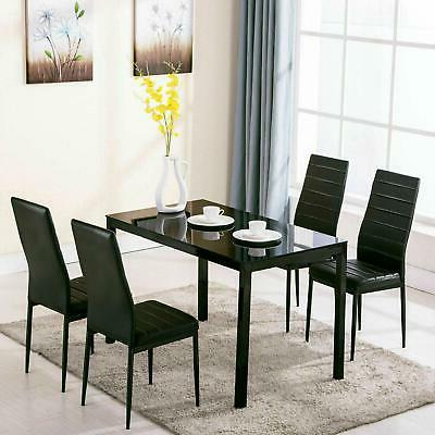 5 Piece Dining Set 4 Chair Metal Kitchen Room NEW