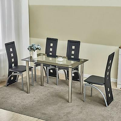 5 piece dining table set black glass
