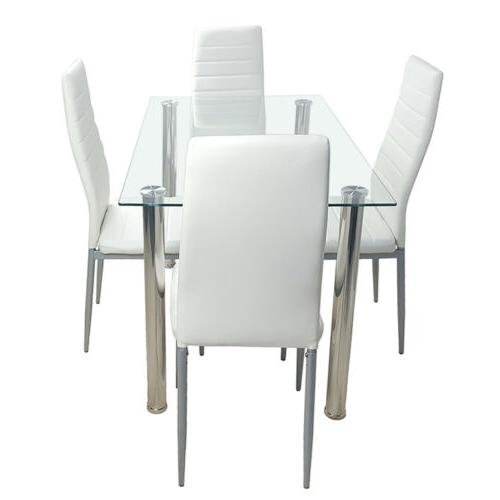 5 PIECES DINING WHITE GLASS TABLE AND 4 CHAIRS DINNING