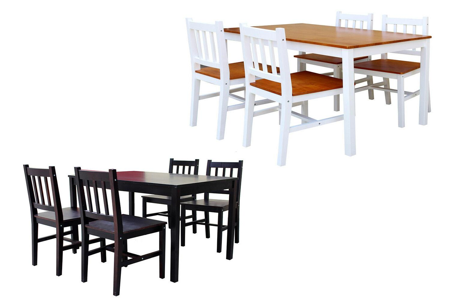 5 Piece Dining Table Set Rectangular Kitchen Restaurant Furn
