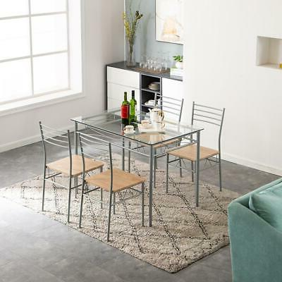 5 Dining Set Silver and 4 Chairs Furniture Home
