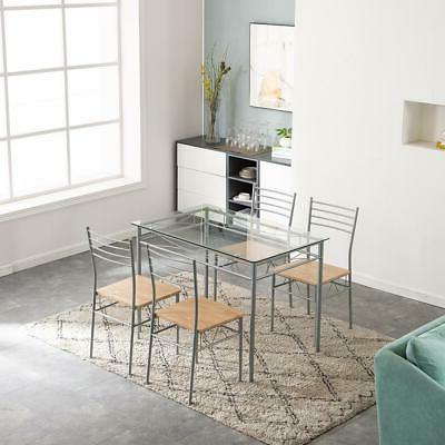 5 Dining Set Silver Glass 4 Home