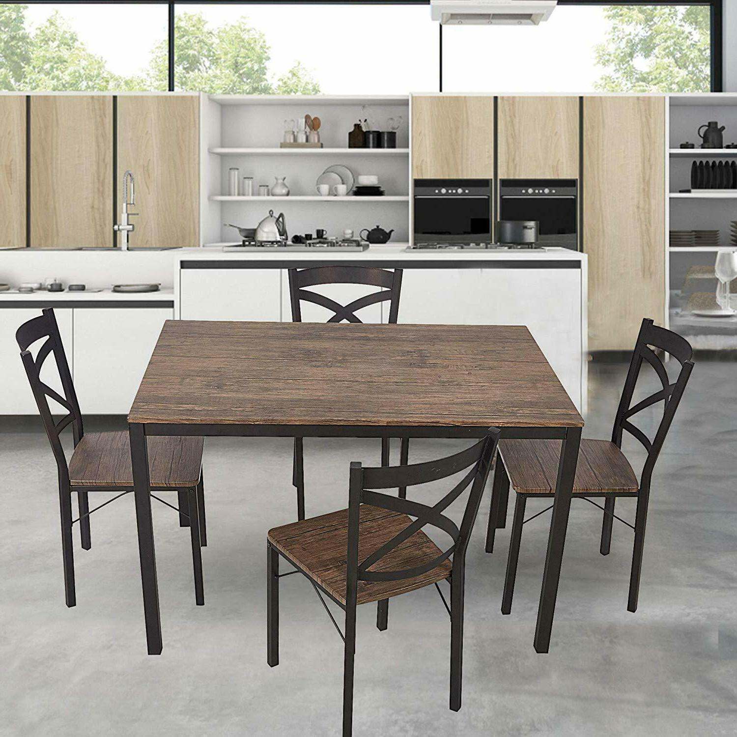 5-piece Dining Table Metal-leg Chairs Kitchen