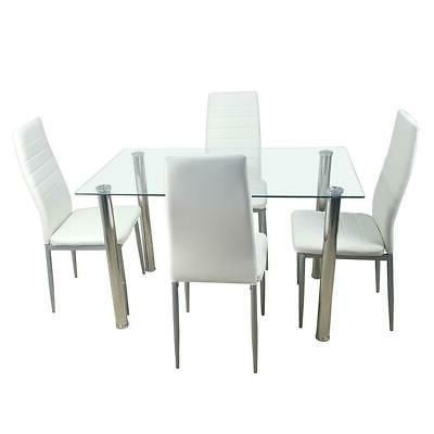 5PC Glass Top Table 4 Chairs White