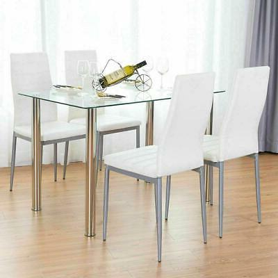 5PC Dining Glass Table 4 Kitchen Furniture White