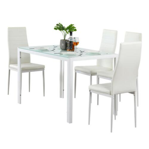 5 Piece Dining Table Set 4 Chairs Glass Leather Kitchen Room Breakfast Furniture