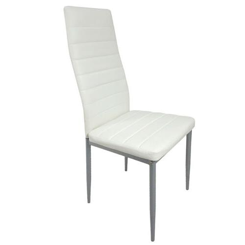 Set 4 Dining Chairs Back Armless Furniture White