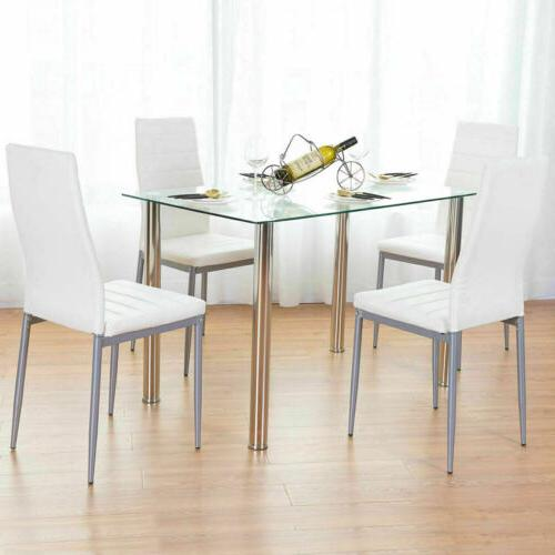 5 piece dining table set white glass