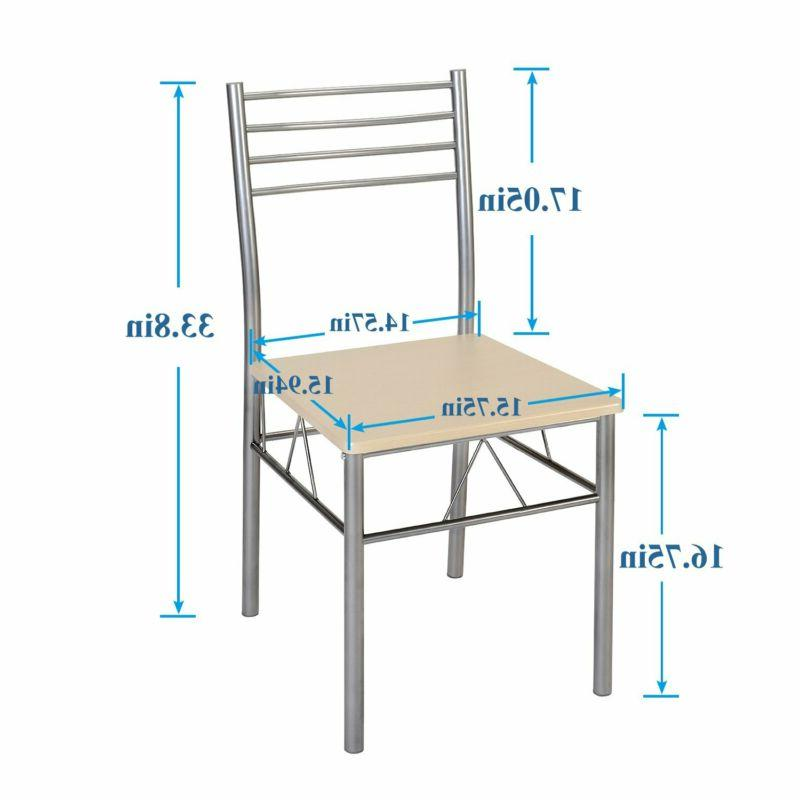 VECELO Table 4 Chairs Silver
