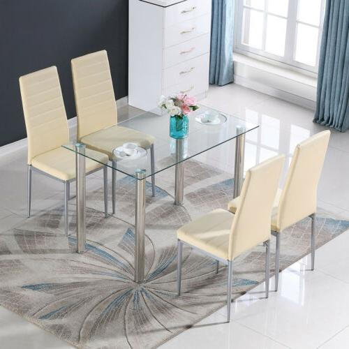 5 Piece Dining Sets Glass PU Room