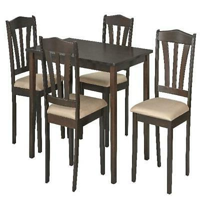 Dining Set Table Microfiber Chairs Kitchen Furniture Modern