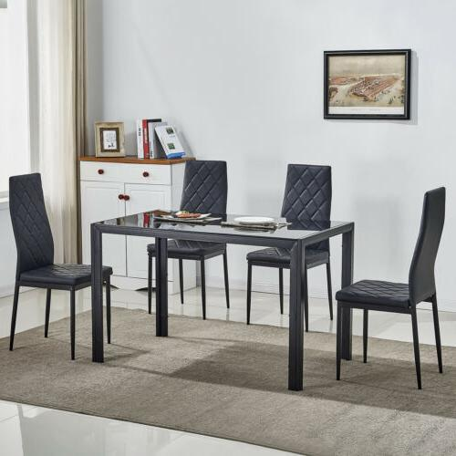 5 Piece Glass Metal Dining Table Set w/4 Chairs Kitchen Room
