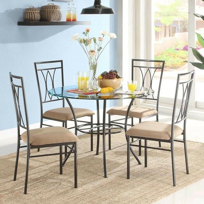 5-Piece Glass Top Round Dining Set Kitchen Living Room Dinin