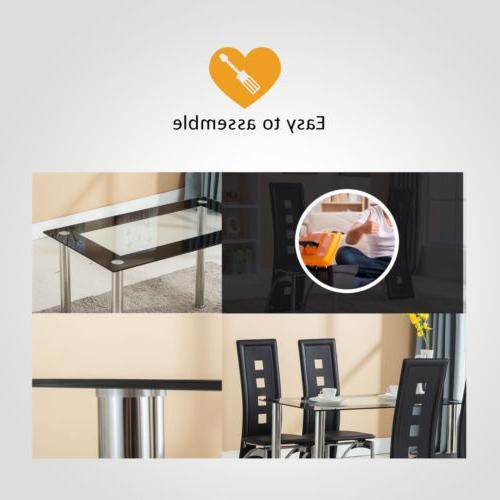 5 Piece Dining Set Chairs Room Kitchen Furniture