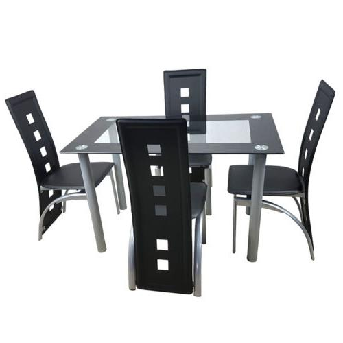 5 Piece Glass Dining Chairs Room Kitchen Furniture