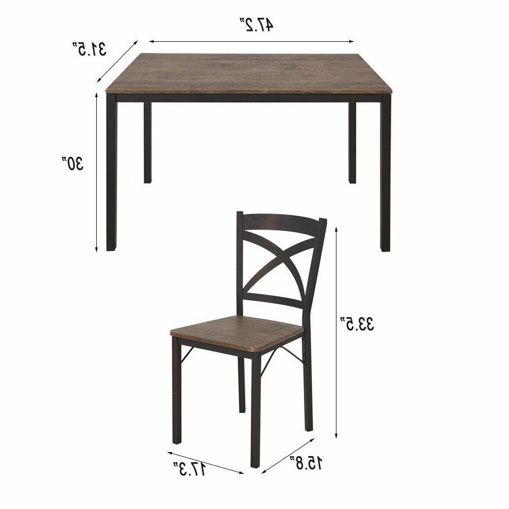 5-piece Furniture Breakfast Table of 4 Dining Chairs
