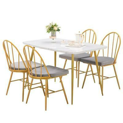 5 piece marble dining table set 4