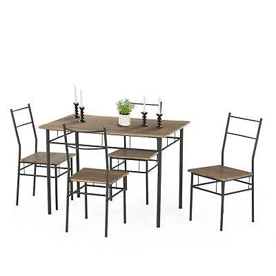 5 Piece Metal Dining Table Chairs Room