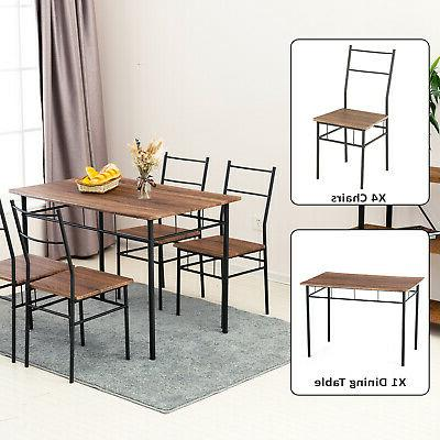 5 Piece Metal Table Set w/4 Wood Room Furniture