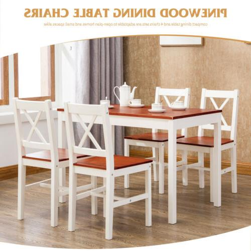 5 Pieces Dining Table Set with 4 Chairs Red Pin Wood  for Ki