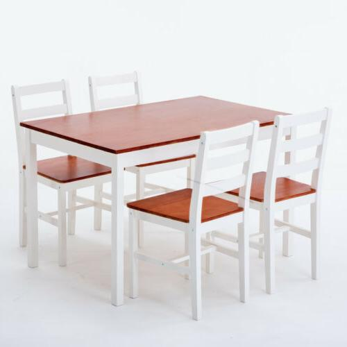 Pine Wood Dining Table and 4 Chairs Room Set Breakfast Kitch