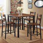 5 Piece Rustic Dining Table Set High Top Counter Height Chai