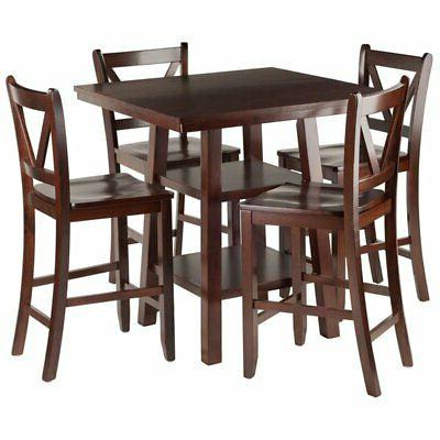 Pemberly Row 5 Piece Square Counter Height Dining Set in Wal