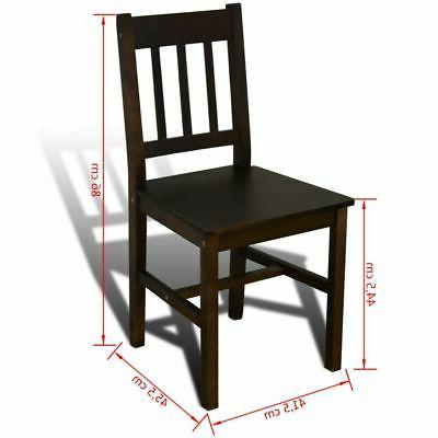 Wooden Dining Set with 4 Dining Home Brown