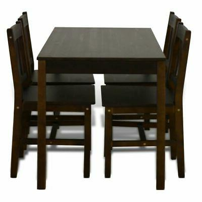 Wooden Dining Table Set with Brown