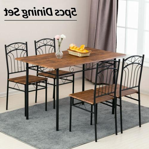 5PCS Metal Dining Table Set w/ 4 Chair+Wood Top Table Kitche