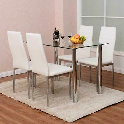 5 pieces dining table white glass table