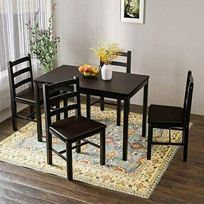 5 pieces kitchen dining table set pine