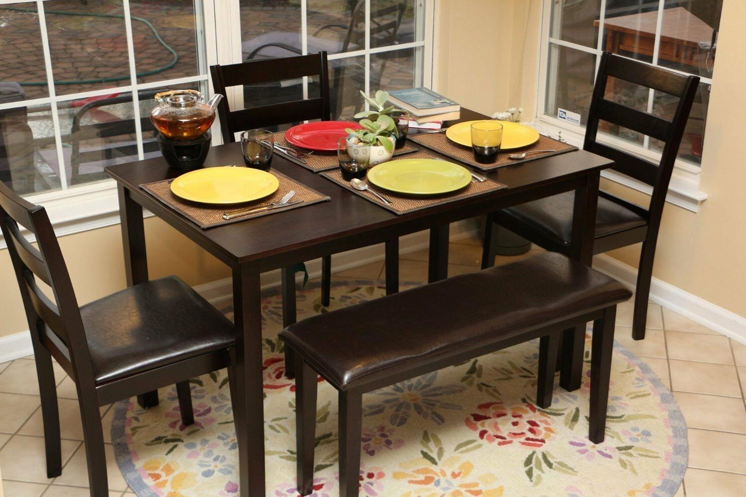 5pc dining dinette table chairs and bench
