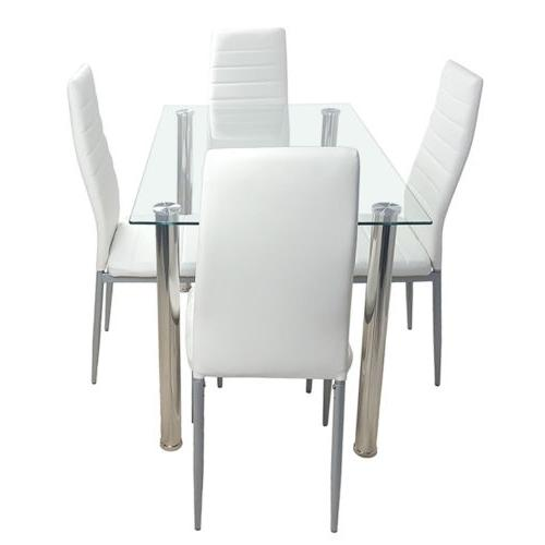 5PC Dining Set Tempered 4 Chairs Furniture White