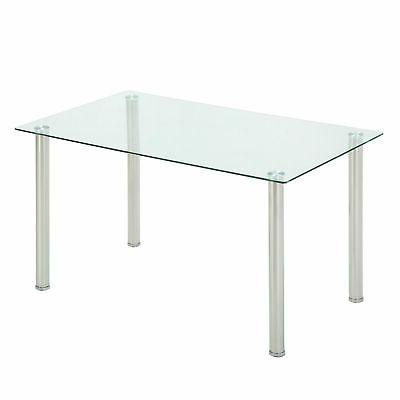 5PC Set Tempered Glass Table & 4 White