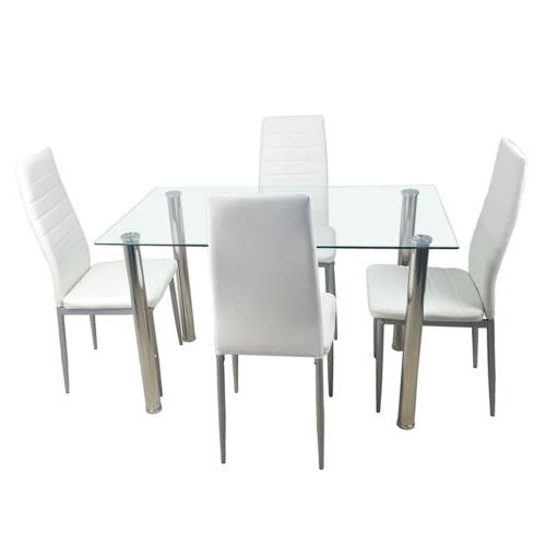 5pc dining set tempered glass top table