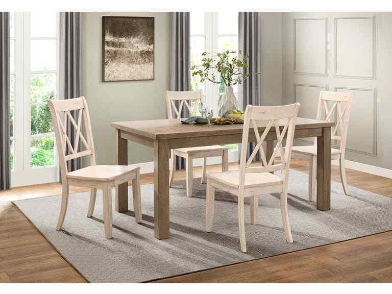 5pc Dining Set White & Natural Finish Transitional Table Dou