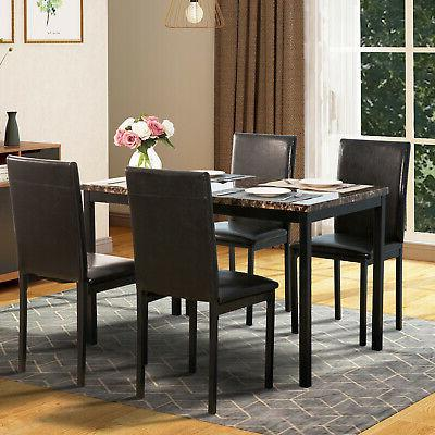 5pc dining table chair faux marble black