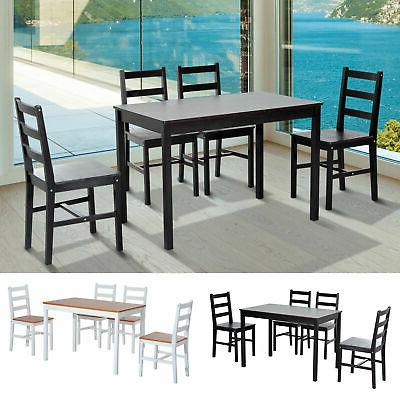 5pc dining table chairs set solid wood